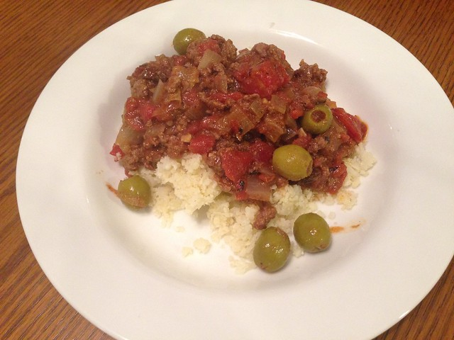 picadillo over caulflower rice