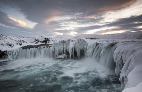 sunset cloud snow ice water river waterfall iceland february akureyri godafoss 2015 goðafoss