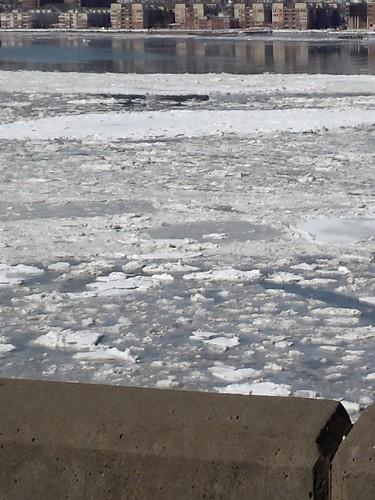 Frozen Hudson River, West Side Highway, NYC