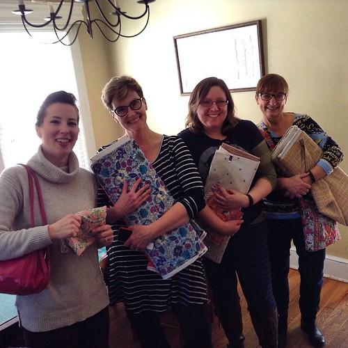 Carissa, Pam, Alyson and a new member from early February, Carolyn. #delrayfabrics #dcmqgfieldtrip