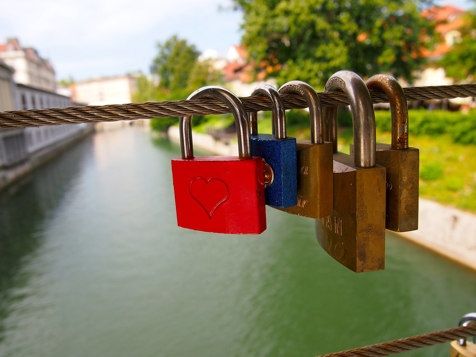 Love locks on the Butchers Bridge in Ljubljana