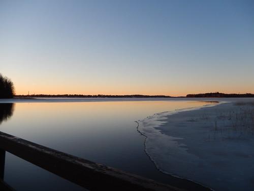 sea sky snow ice water sunrise