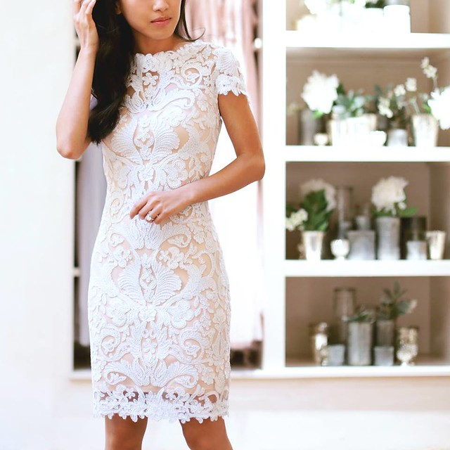 tadashi short white lace dress