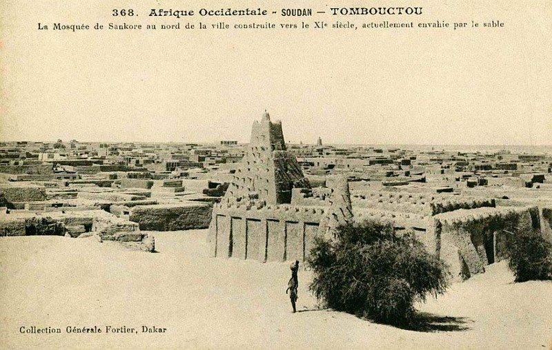 View of the Sankoré Mosque in Timbuktu at Postcard 368 by Edmond Fortier