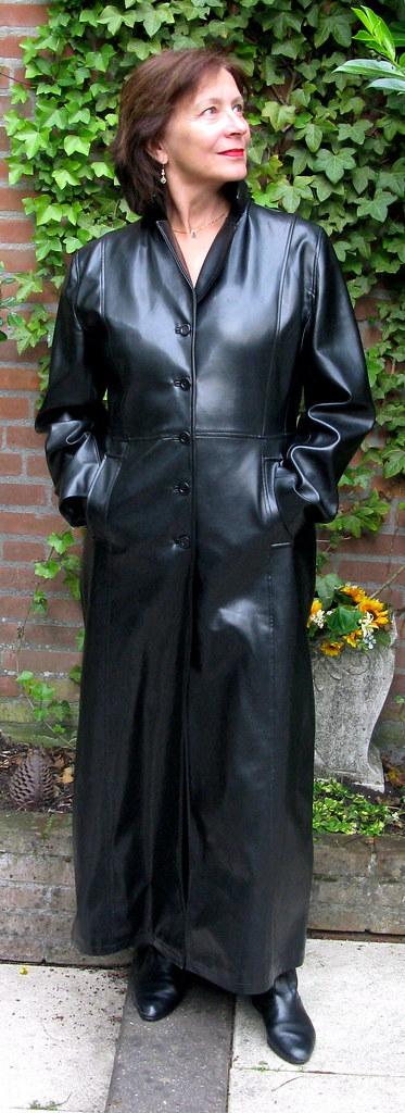 Milf in long leather coat