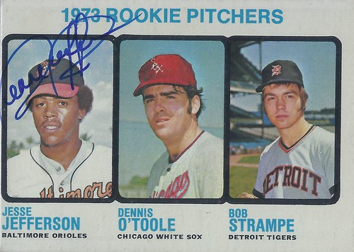 1973 Topps / Rookie Pitchers - Jesse Jefferson #604 (Pitcher) (b. 3 Mar 1949 - d. 8 Sep 2011 at age 62) - Autographed Baseball Card (Baltimore Orioles)