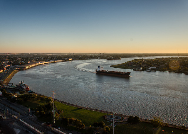 Mississippi River - Ship Rounding Algiers Point in New Orleans - Headed Upriver