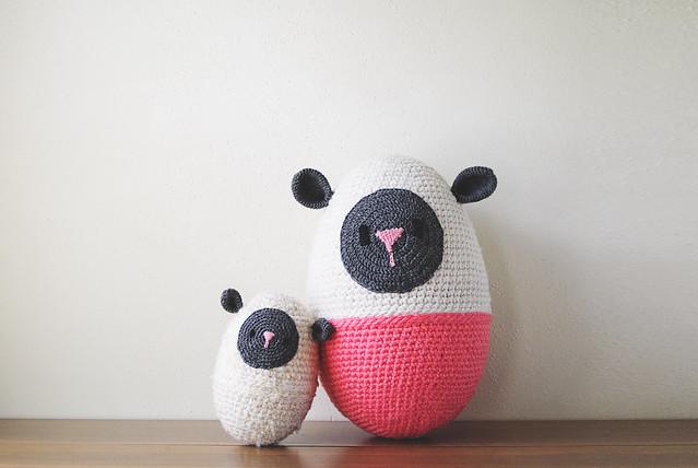 crochet lamb egg family