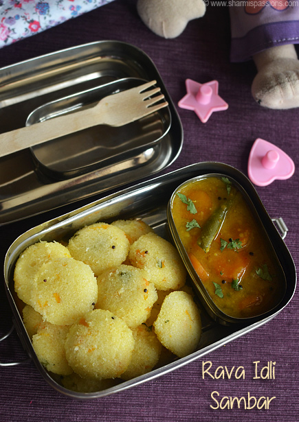 Mini Rava Idli and Sambar