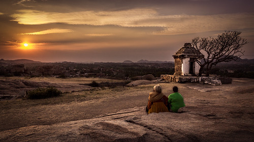 world travel trees sunset people india heritage colors clouds canon temple site rocks unesco hills boulders karnataka hampi 600d hemakuta