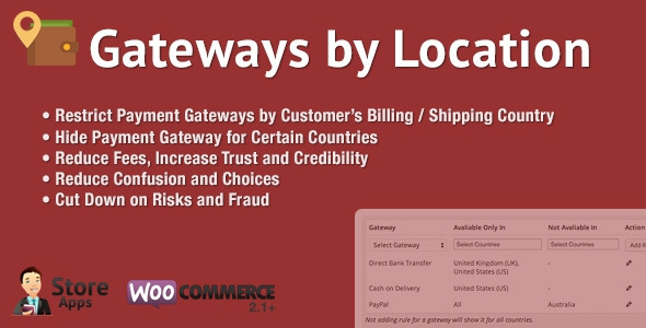 WooCommerce Gateways by Location v1.2.6