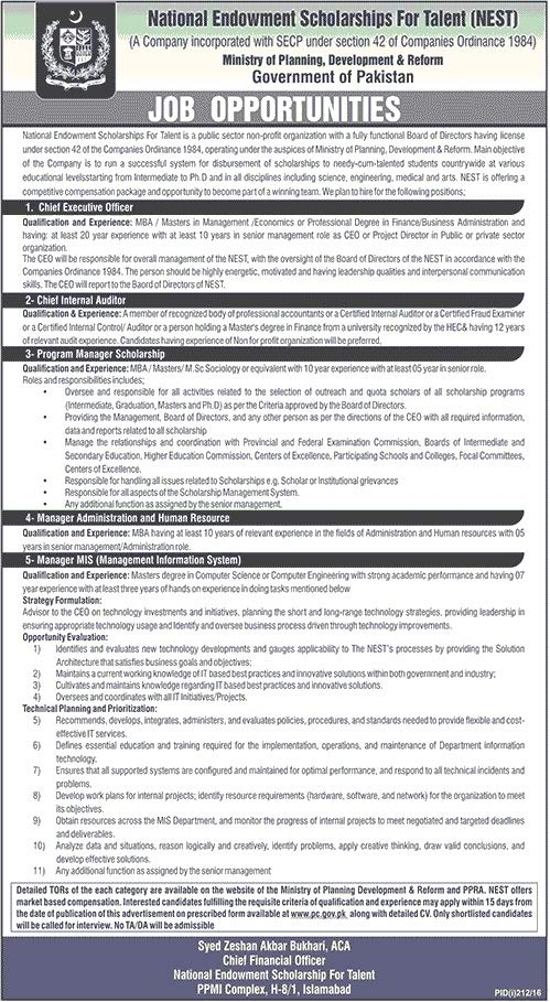 Ministry of Planning and Development Jobs 2016