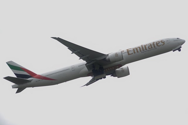 Emirates Boeing 777-31H(ER) A6-EBK at Newcastle Airport 30/6/16
