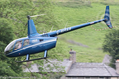 G-RMAR - 2012 build Robinson R66 Turbine, departing from Buxton after visiting for Hillhead 2016