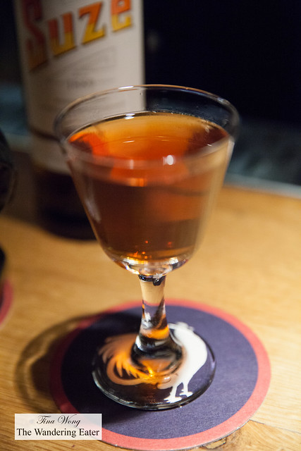Cocktail # 11 - Merlet Cognac, Poitin, Roasted Sesame, Suze aromatic bitters