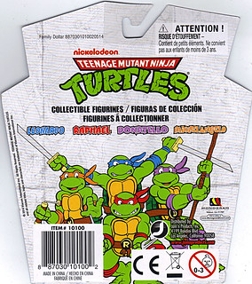 MONOGRAM INTERNATIONAL :: TEENAGE MUTANT NINJA TURTLES; COLLECTIBLE FIGURINES / LEONARDO ..card backer,reverse (( 2014 ))