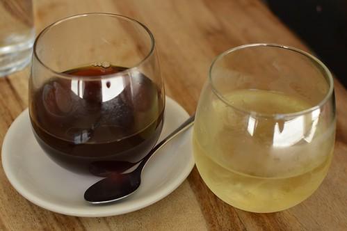 Filtered coffee, lemony minty tea