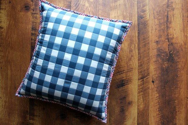 Folk Plaid Quilted Pillow