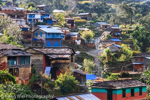 travel nepal house mountain color horizontal rural landscape asia village outdoor scenic remote np annapurnacircuit annapurna shikha bagmati westernregion annapurnaconservationarea