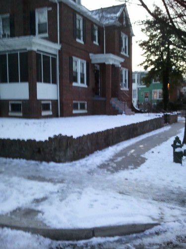 Unshovelled side of the house, unshovelled street corners