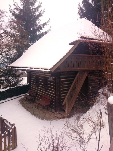 traditional timber block hut