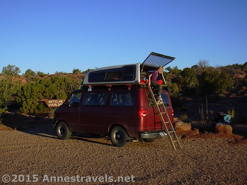 Morning In Our Diy Hard Sided Roof Top Camper At Anticline Overlook Canyon Rims Recreation