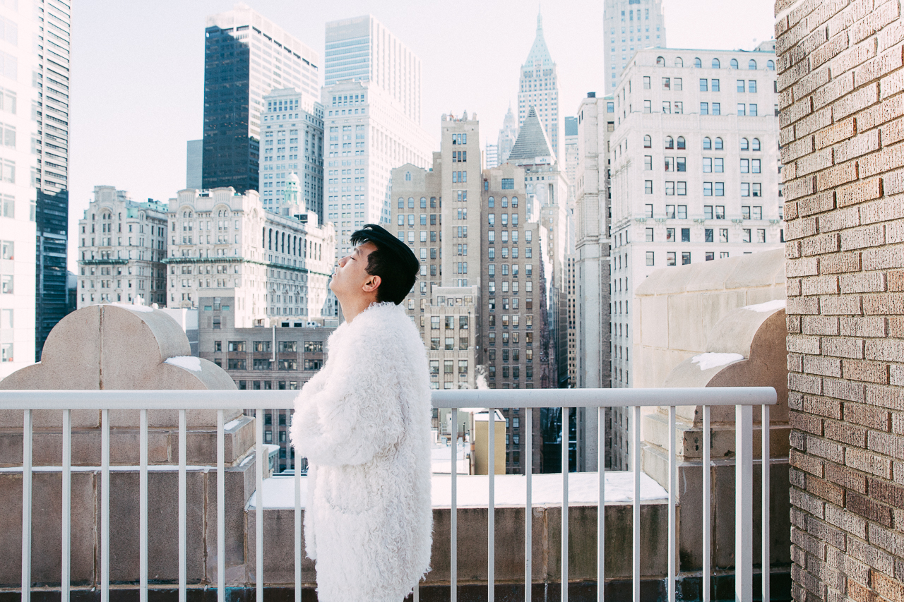 Bryanboy wearing a white Sonia Rykiel fur coat