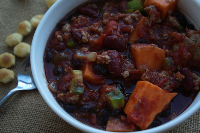 Sweet Potato Turkey and Vegetable Slow Cooker Chili
