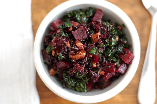 Forbidden rice, kale & beet salad with pecans by Eve Fox, The Garden of Eating, copyright 2015