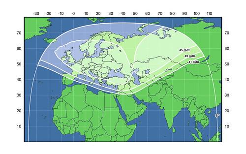 Зоны покрытия спутника Экспресс-АМ7