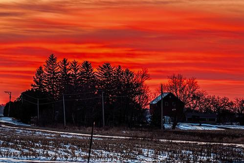 winter snow rio wisconsin rural sunrise unitedstates farm scenic ©jrj