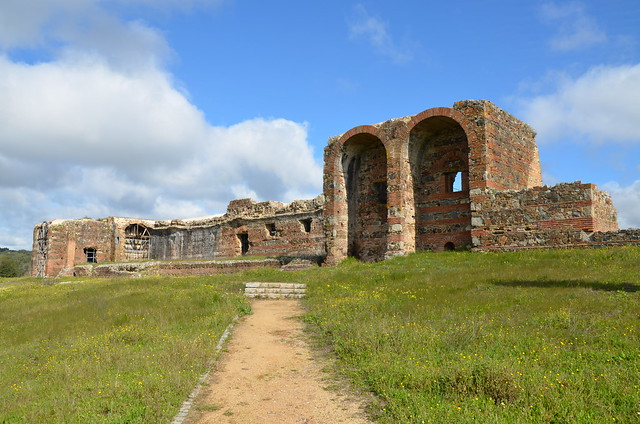 The Roman ruins of São Cucufate, with the principal elevation of the villa Áulica, Portugal
