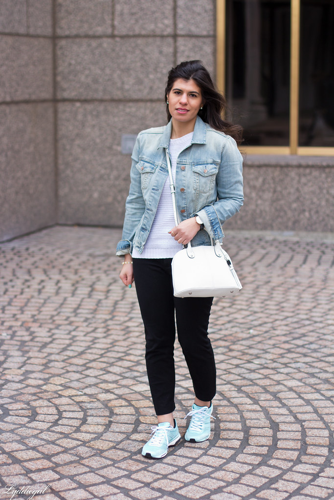 Leather jacket over denim jacket, mint green trainers.jpg