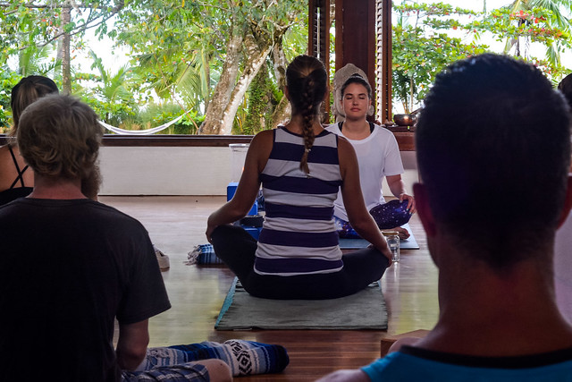 Students practice teaching full classes during the one month immersion yoga teacher training program.