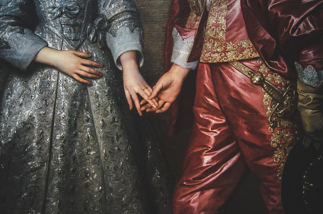 The marriage of William II, Prince of Orange, age 14 and his bride, Mary Stuart, just nine years old.