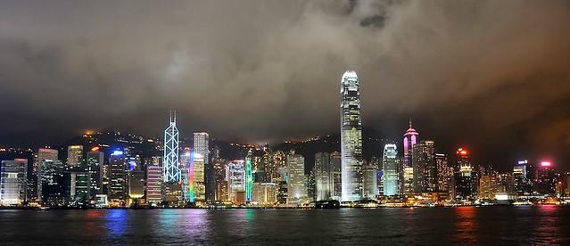 Hong Kong island by night