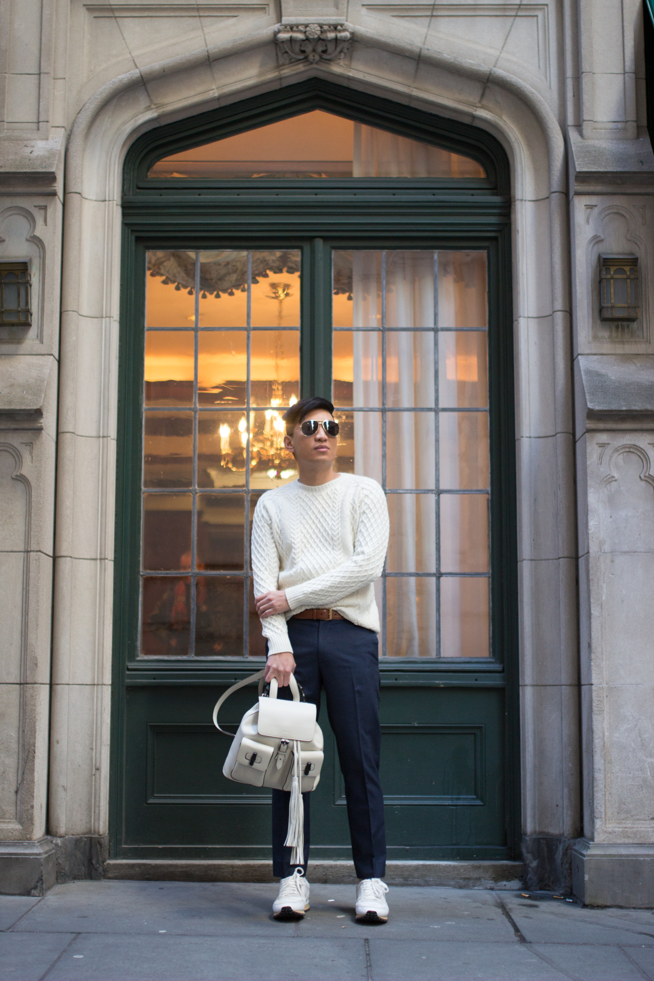 Bryanboy in New York City wearing a white Gucci backpack
