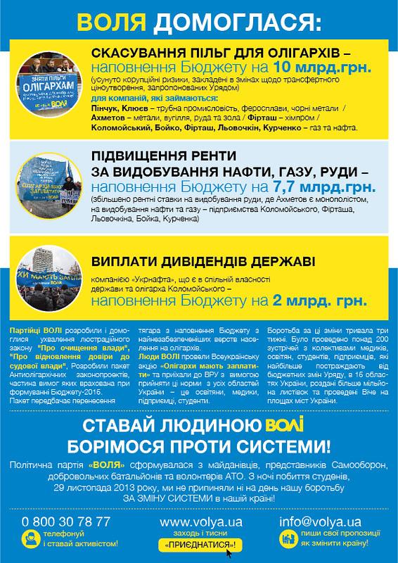 «ВОЛЯ» пропонує Раді шість законів, які дозволять Україні вижити у 2015 році