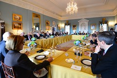U.S. Secretary of State John Kerry hosts a working lunch for Italian Ambassador to the U.S. Claudio Bisogniero and 28 EU Ambassadors to the U.S. in honor of Italy's EU Presidency, at the U.S. Department of State in Washington, D.C., on December 18, 2014. [State Department photo/ Public Domain]