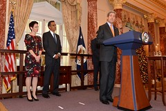 U.S. Secretary of State John Kerry delivers remarks at the swearing-in ceremony for the new U.S. Ambassador to India,Rich Verma, at the U.S. Department of State in Washington, D.C., on December 19, 2014. [State Department photo/ Public Domain]