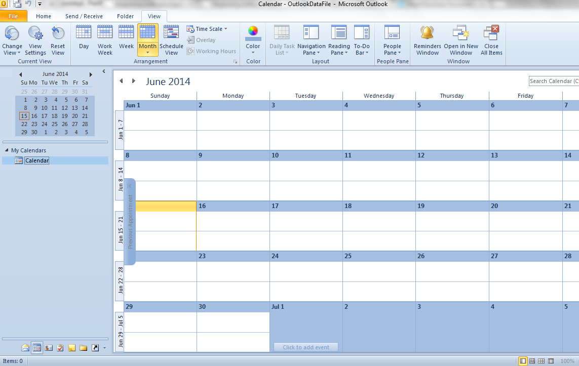 Microsoft Outlook Calendar View