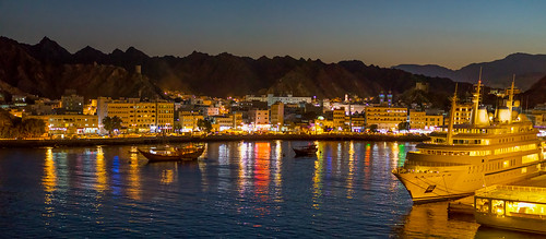 panorama skyline night port pano oman muscat stiched muskat muscatgovernorate