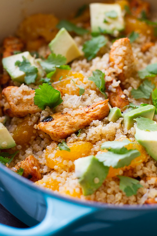 Light Citrus Chicken Quinoa Salad - A light and healthy citrus salad with creamy avocados, chunks of white meat chicken, mandarin oranges, and fresh cilantro. This chicken quinoa salad is so filling and still lighter on the calories! #chickensalad #quinoasalad #chickenquinoasalad #lightsalad | Littlespicejar.com