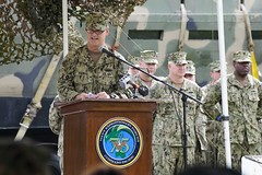 Vice Adm. Robert Thomas, commander ofU.S. 7th Fleet, addresses the audience during the establishment ceremony for Commander, Task Force (CTF) 75. (U.S. Navy/MC1 Timothy Wilson)