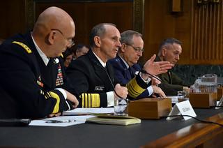 Adm. Jonathan Greenert, center left, testifies before the Senate Armed Services Committee.