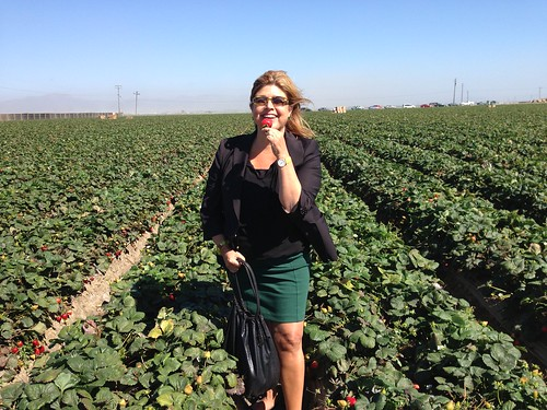 Anne Alonzo in a strawberry field