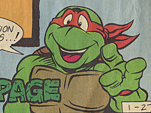 TEENAGE MUTANT NINJA TURTLES  { newspaper strip } TURTLES ACTIVITY PAGE ; ..art by Brown , Lavigne - MIKEY isolated :: 01271991
