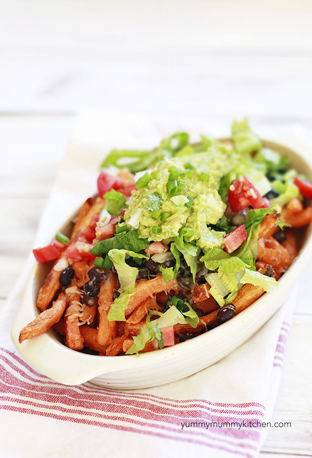 Loaded Sweet Potato Fries baked with guacamole.