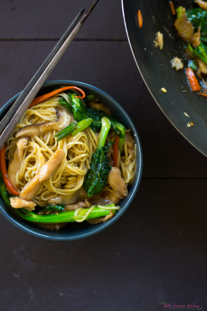 Chicken Chow Mein with Chinese Broccoli and Mushrooms via LittleFerraroKitchen.com