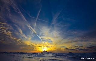 Contrails in a winter sky
